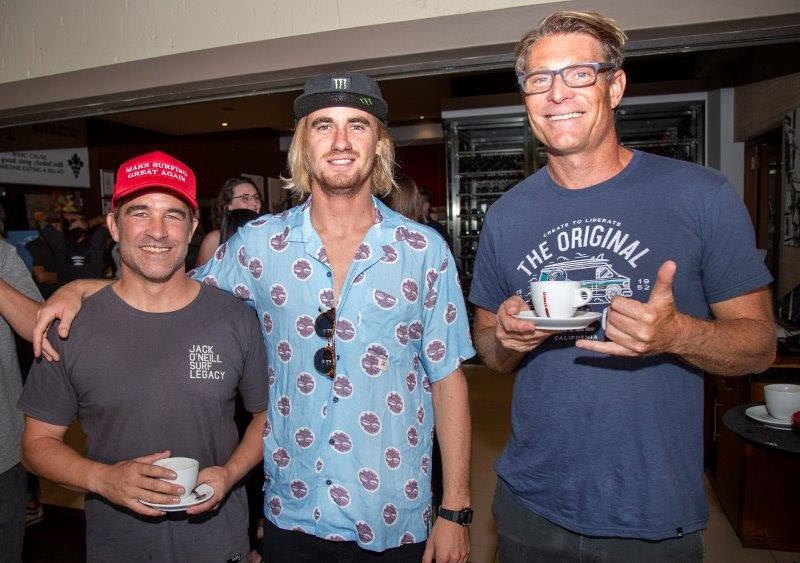 FEATURED IMAGE: Beyrick De Vries, centre, at the recent launch of the Ballito Pro, presented by O'Neill, with commentator Mike Frew, left, and Tom Hewitt of Surfers Not Street Children. Picture:  TIM LUBBE